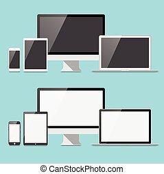 plat, ensemble, électronique, appareils
