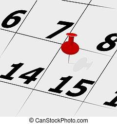 plat, ensemble, épingle, arrière-plan., calendrier, blanc rouge, icône