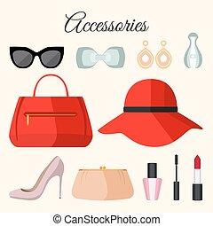 plat, ensemble, accessoires, mode, dame, style.