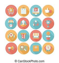 plat, ensemble, achats, icônes