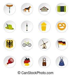 plat, ensemble, allemagne, icônes