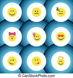 plat, ensemble, amour, elements., ange, triste, idée, inclut, aussi, vecteur, heureux, objects., autre, geste, icône