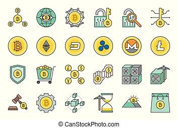 plat, ensemble, apparenté, cryptocurrency, conception, icône
