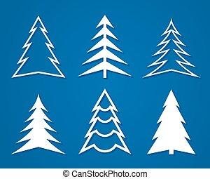 plat, ensemble, arbres., noël blanc, design.