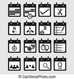 plat, ensemble, arrière-plan., calendrier, blanc, icône
