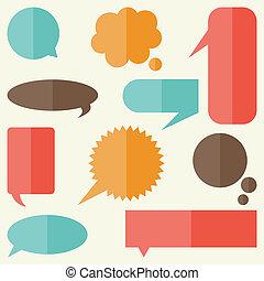 plat, ensemble, bannières, conception, parole, bulles, style.