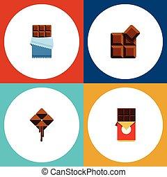 plat, ensemble, barre, elements., doux, inclut, aussi, vecteur, chocolat, cacao, délicieux, objects., chocolat, amer, autre, icône