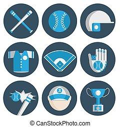 plat, ensemble, base-ball, icône