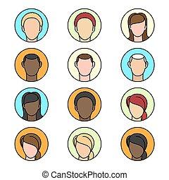 plat, ensemble, bavarder, icônes