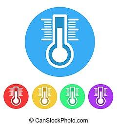 plat, ensemble, blanc, illustration, vecteur, thermomètre, icône, stockage