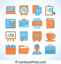plat, ensemble, bureau affaires, symboles, vecteur, icône