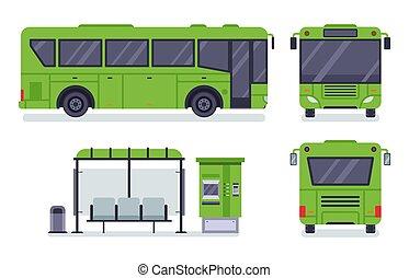 plat, ensemble, bureau, autobus, public, illustration, autobus, arrêt, vecteur, bus., billet, ville, transport