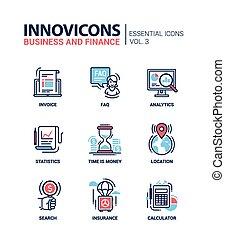 plat, ensemble, bureau, business, moderne, icônes, ...