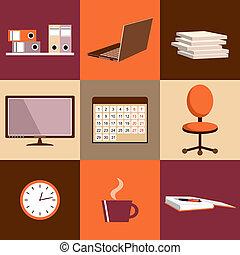 plat, ensemble, bureau, choses, équipement, vecteur, objets