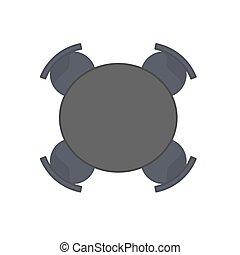 plat, ensemble, bureau, sommet bois, isolé, illustration, vecteur, noir, white., bureau, intérieur, table, chaise, design., vide, vue