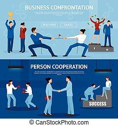plat, ensemble, business, constructif, confrontation, bannières