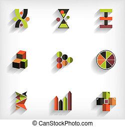 plat, ensemble, business, résumé, géométrique, icône, 3d