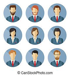 plat, ensemble, business, vecteur, caractères, design.