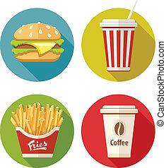 plat, ensemble café, hamburger, tasse, frire, papier, soude, icône