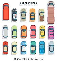 plat, ensemble, camions, icônes, voitures, sommet, vecteur, vue