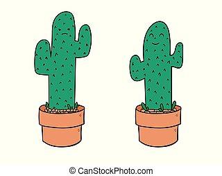 plat, ensemble, caractère, isolé, illustration, dessin animé, arrière-plan., vecteur, blanc, cactus, style.