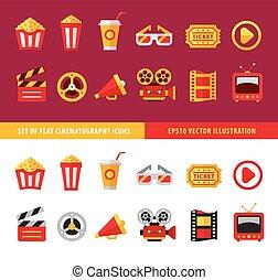plat, ensemble, cinéma, ligne, icônes