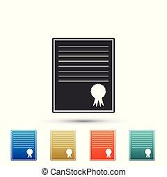 plat, ensemble, coloré, certificat, isolé, icons., arrière-plan., vecteur, illustration, gabarit, blanc, icône, éléments, design.