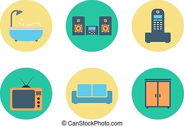 plat, ensemble, coloré, icônes, couleur, vecteur, intérieur, design.