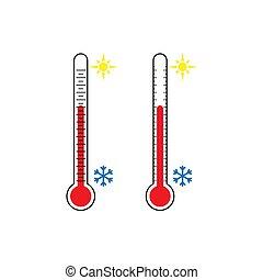 plat, ensemble, coloré, icons., thermomètre, design.
