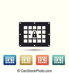 plat, ensemble, coloré, isolé, icons., arrière-plan., fenêtre, vecteur, illustration, prison, blanc, icône, éléments, design.