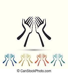 plat, ensemble, coloré, isolé, icons., arrière-plan., vecteur, illustration, mains, blanc, icône, éléments, design.