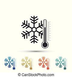 plat, ensemble, coloré, isolé, icons., arrière-plan., vecteur, illustration, thermomètre, blanc, icône, flocon de neige, éléments, design.