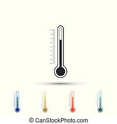 plat, ensemble, coloré, isolé, icons., arrière-plan., vecteur, illustration, thermomètre, blanc, icône, éléments, design.