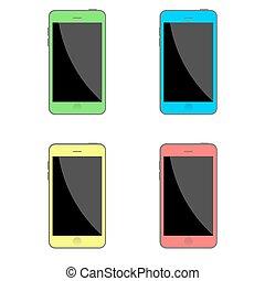 plat, ensemble, coloré, isolé, réaliste, vecteur, smartphones., style., stockage
