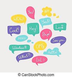 plat, ensemble, coloré, messages., court, parole, questions, conception, bulles