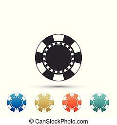 plat, ensemble, coloré, puce, casino, isolé, icons., arrière-plan., vecteur, illustration, blanc, icône, éléments, design.