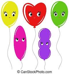 plat, ensemble, coloré, simple, isolé, dessin animé, fond, blanc, ballons, dessin, ropes.