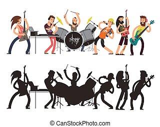 plat, ensemble, concert, musicians., musicien, jeune, silhouettes, vecteur, musique, caractères, rocher, performance, concept., dessin animé