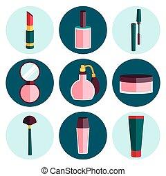 plat, ensemble, cosmétique, icône