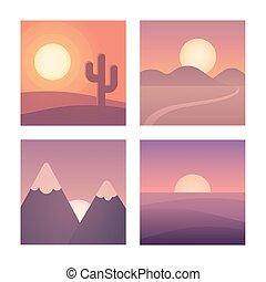 plat, ensemble, coucher soleil, paysage