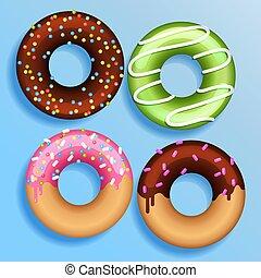 plat, ensemble, couleur, beignets, moderne, isolé, illustration, style., beignet, vecteur, 4, ton, design.
