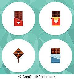 plat, ensemble, elements., boîte, doux, inclut, cacao, aussi, barre, vecteur, chocolat, délicieux, objects., chocolat, amer, autre, icône