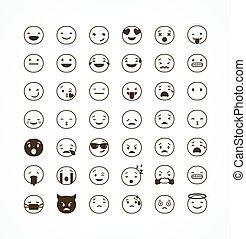 plat, ensemble, emoticons, isolé, illustration, fond, blanc, emoji