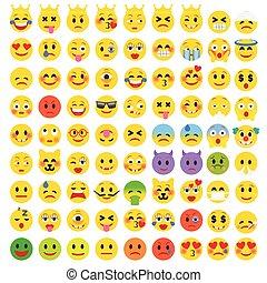 plat, ensemble, emoticons., rigolote, résumé, emoji