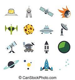plat, ensemble, espace, icônes
