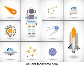 plat, ensemble, espace, icônes, vecteur, exploration