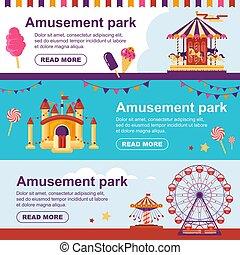 plat, ensemble, famille, wheel., attractions, gonflable, trampoline, parc, illustration, ferris, vecteur, aviateur, drapeaux, horizontal, carrousel, bannière, amusement, château