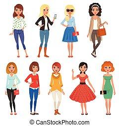 plat, ensemble, femme, désinvolte, mode, filles, figure, gai, expressions., vecteur, conception, séduisant, caractères, plein-longueur, accessories., dessin animé, vêtements