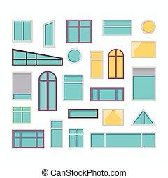 plat, ensemble, fenetres, vecteur, illustrations, style.
