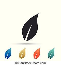 plat, ensemble, feuille, coloré, isolé, icons., arrière-plan., vecteur, illustration, blanc, icône, éléments, design.